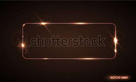 Vector glow line golden frame with sparks and spotlight light effects. Shining rectangle banner Stock photo © Iaroslava