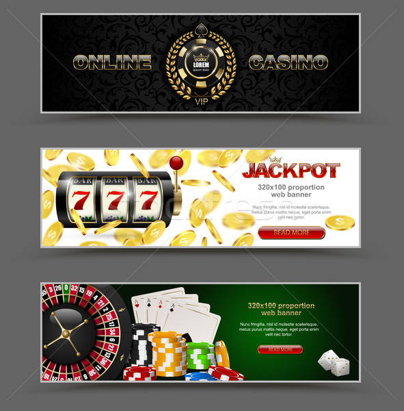 VIP poker luxury horizontal web banner set. Chip stack, vector online casino text, club golden logo Stock photo © Iaroslava