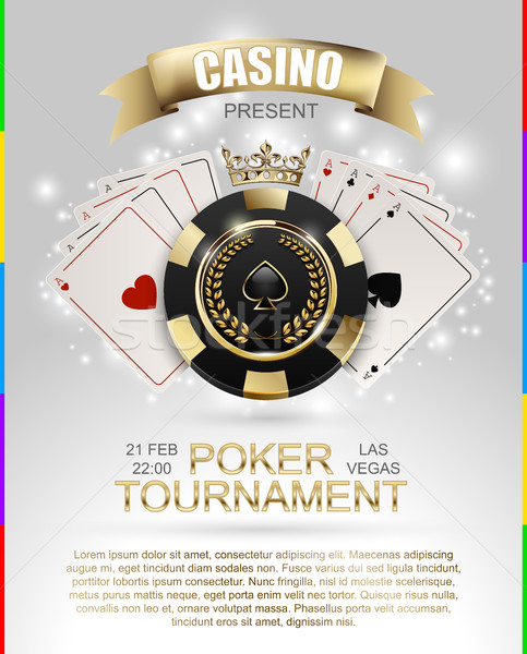 VIP poker luxury black and golden chip, golden crown with ace card vector casino poster concept Stock photo © Iaroslava