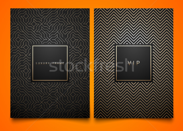 Vector set black packaging templates with different golden linear geometric pattern texture Stock photo © Iaroslava