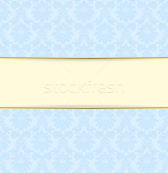 Vector blue and vanilla color retro style banner. Light frame design with golden line Stock photo © Iaroslava