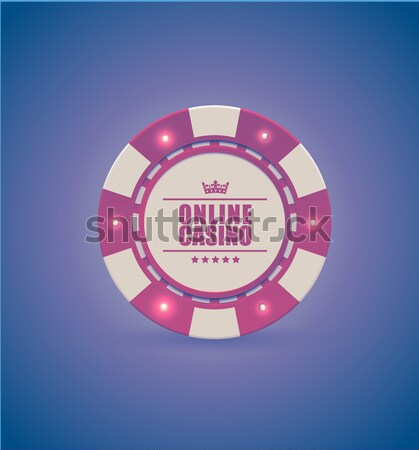 Vector red white casino poker chips with luminous light elements, top view. Retro purple effect Stock photo © Iaroslava