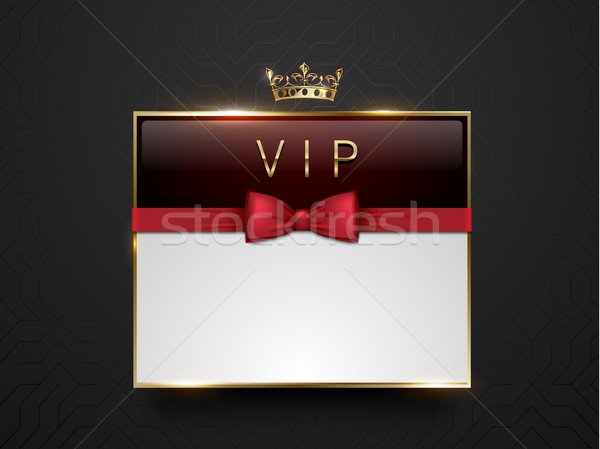 Vip dark red glass label with golden frame, crown and red bow tie on black silk geometric background Stock photo © Iaroslava