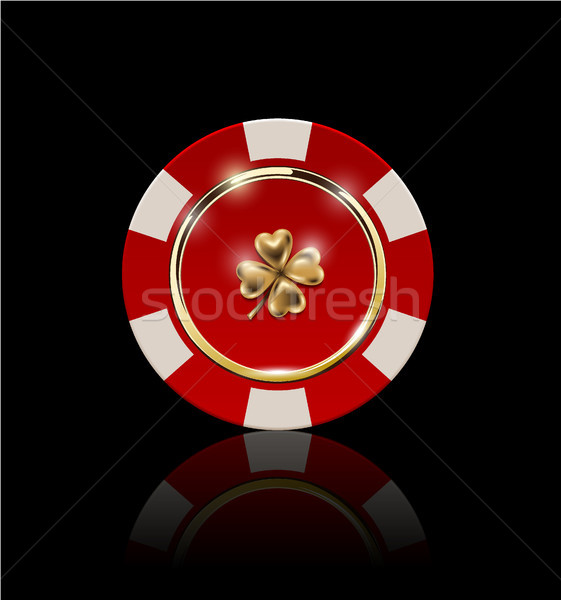 VIP poker red and white chip with golden ring and light effect vector. Black jack poker club casino  Stock photo © Iaroslava