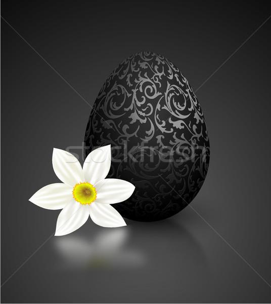 Foto stock: Preto · cor · realista · ovo · metálico · floral