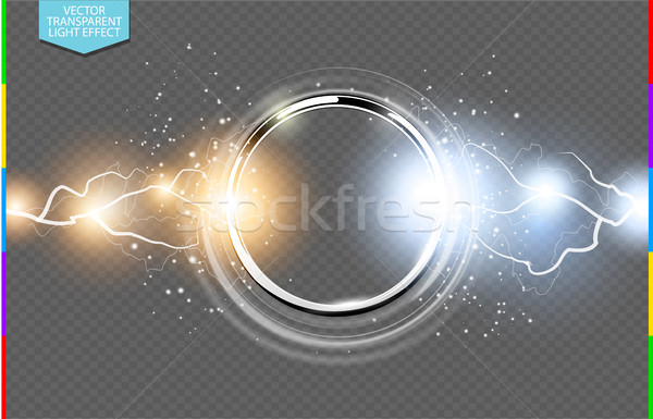 Abstract metal chrome ring power science transparent background. Electric shine round tech frame Stock photo © Iaroslava