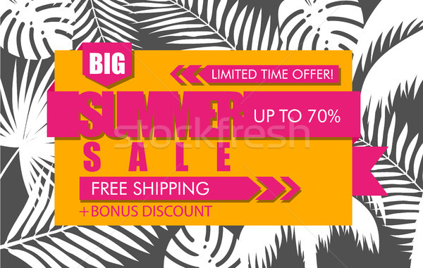 Summer sale banner with white tropical exotic palm leaves and plant on orange background. Vector Stock photo © Iaroslava