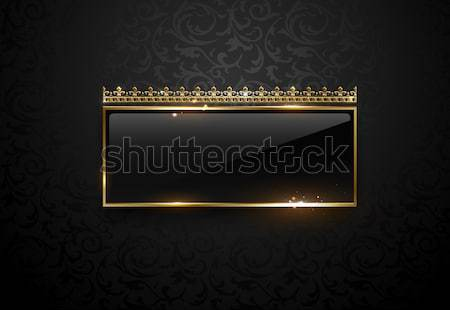 Stock photo: Premium black label with golden frame sparks and crown on black floral pattern background. Dark vip