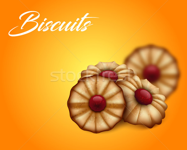 Buttery cookies with red jam on bright orange and yellow background. Stock photo © Iaroslava