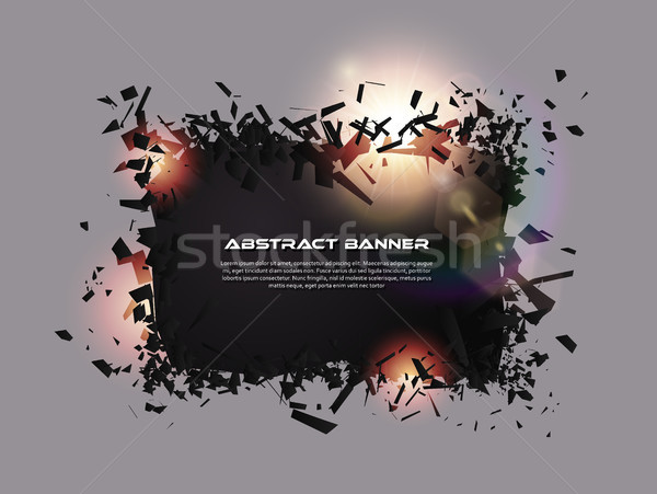 Speech bubble, exploding effect. Abstract explosion black pieces with lens flare. Explosive Stock photo © Iaroslava