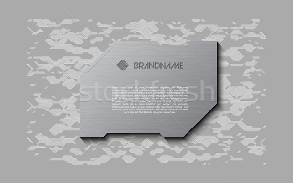 Abstract grey futuristic soft welcome screen. Metal technology plate on chaotic scheme background Stock photo © Iaroslava