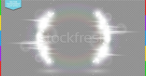 Abstract luxury white vector light flare semicircle and spark light effect. Glowing brackets frame Stock photo © Iaroslava