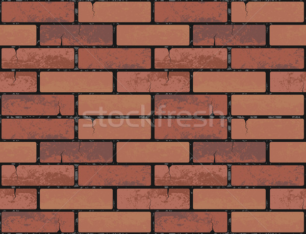 Red brick wall seamless texture background. Vector illustration pattern for continuous replicate Stock photo © Iaroslava