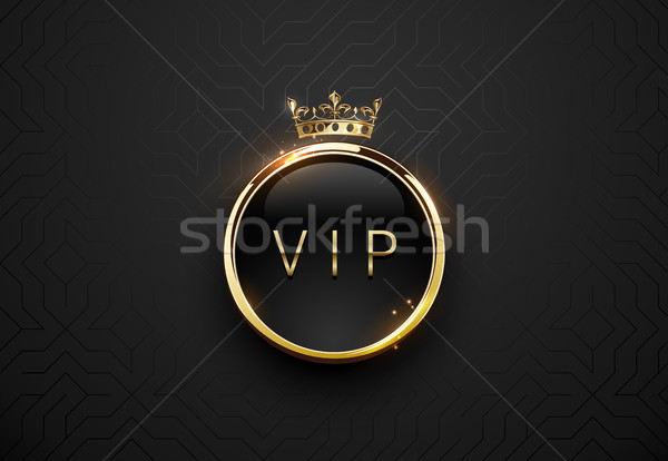 Vip black label with round golden ring frame sparks and crown on black geometric background Stock photo © Iaroslava