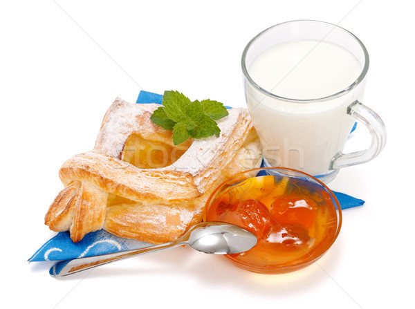 Stockfoto: Perzik · cake · jam · beker · melk · witte