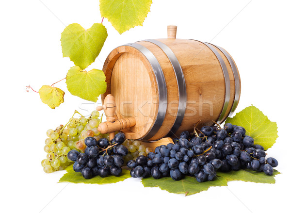 White and blue grape clusters around barrel Stock photo © icefront