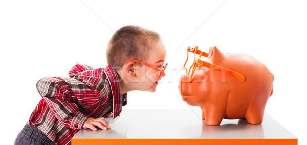 Jogar piggy bank bonitinho criança óculos de sol dinheiro Foto stock © icefront