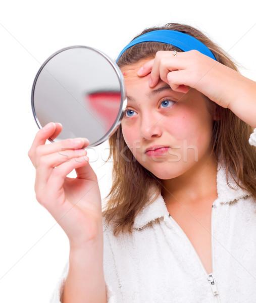 Ragazza specchio teen girl faccia bellezza adolescente Foto d'archivio © icefront