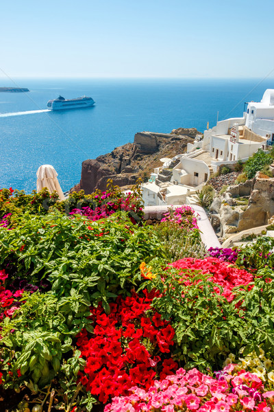 Flowers, buildings and cruise ship in Oia, Santorini Stock photo © icefront