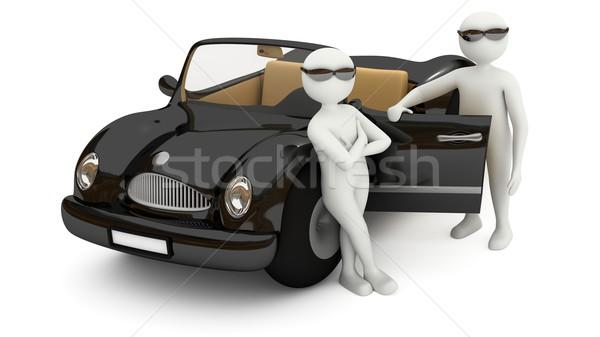 3D branco homens em pé preto carro Foto stock © icefront