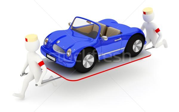Esecuzione auto rotta 3D blu auto Foto d'archivio © icefront