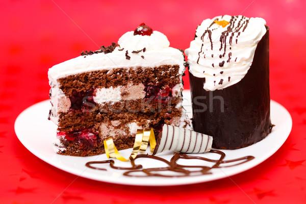 Chocolate fancy cake Stock photo © icefront