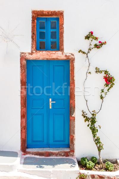 Greek house door in Santorini Stock photo © icefront