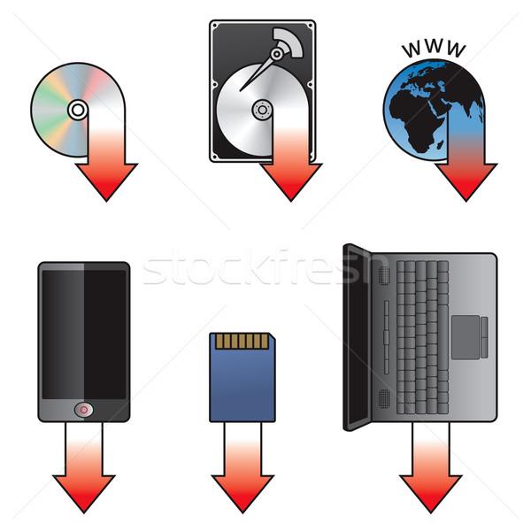 Simgesi indir ayarlamak kompakt disk sabit disk Internet cep telefonu Stok fotoğraf © icefront