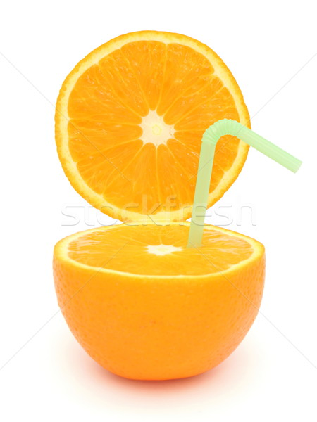 Half orange and straw Stock photo © icefront