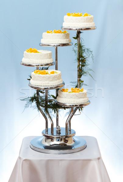 Esküvői torta fehér gyümölcsök kék gyümölcs torta Stock fotó © icefront