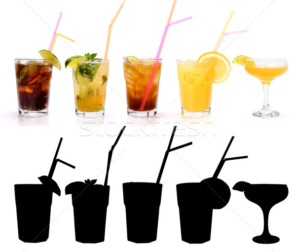 Various alcoholic cocktails and their rtansparency mask Stock photo © icefront