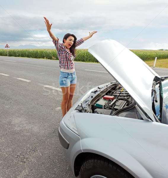 女性 問題 壊れた車 狂牛病 怒り ストックフォト © icefront
