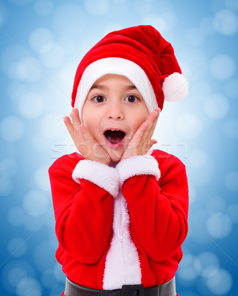 Surprised Christmas boy wondering Stock photo © icefront