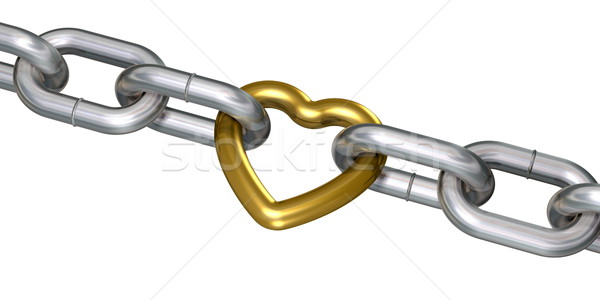 Golden heart in chains Stock photo © icefront