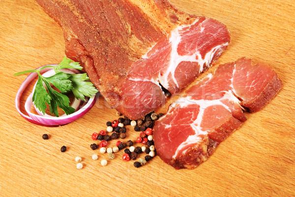 Fűszeres disznóhús vesepecsenye bot szelet fa deszka Stock fotó © icefront