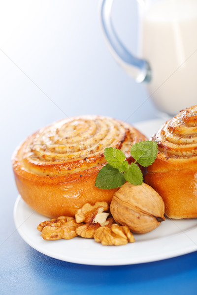 Macro of cinnamon rolls on plate Stock photo © icefront