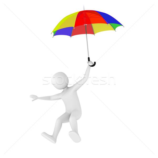 3d man battant parapluie coloré ouvrir homme Photo stock © icefront