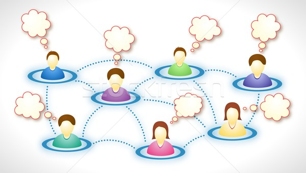 Réseau social texte nuages illustration visages internet Photo stock © icefront