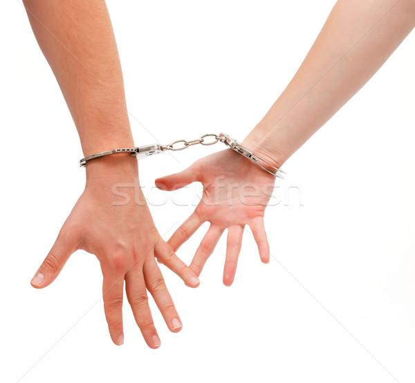 Megbilincselve férfi nő kezek együtt lánc Stock fotó © icefront