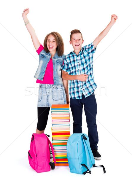 Opgewonden kinderen terug naar school juichen puber kinderen Stockfoto © icefront