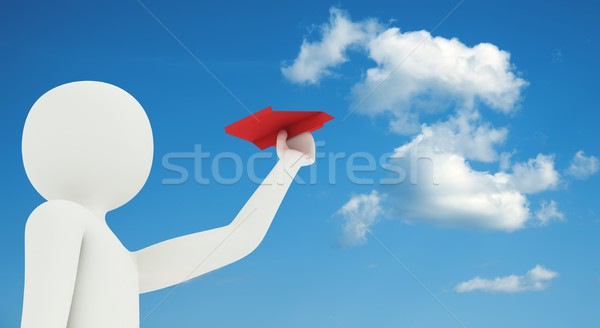 3d man flying paper airplane Stock photo © icefront
