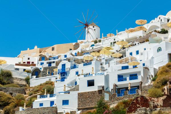 Moinho de vento santorini Grécia eclético estilo Foto stock © icefront