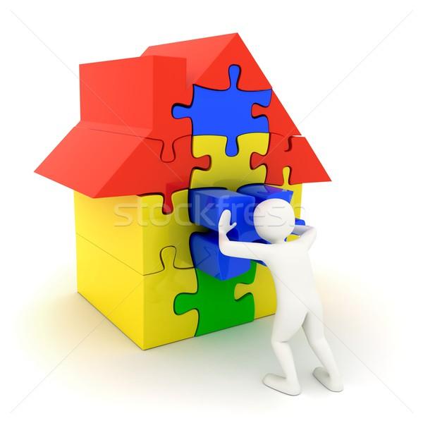 Biały człowiek popychanie miejsce puzzle domu kawałek Zdjęcia stock © icefront