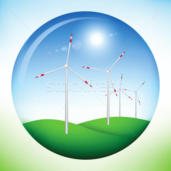 Windmill power generators inside sphere Stock photo © icefront