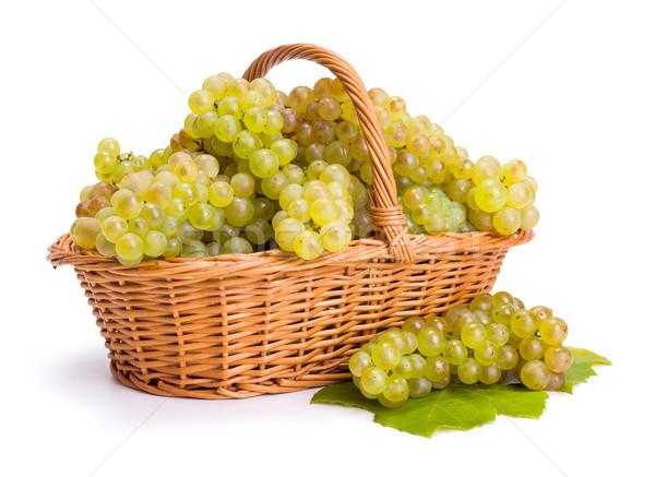 白 ブドウ バスケット 収穫 ワイン 緑 ストックフォト © icefront