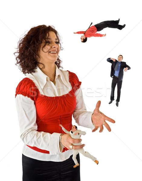 Femme d'affaires jonglerie affaires femme femmes hommes Photo stock © icefront