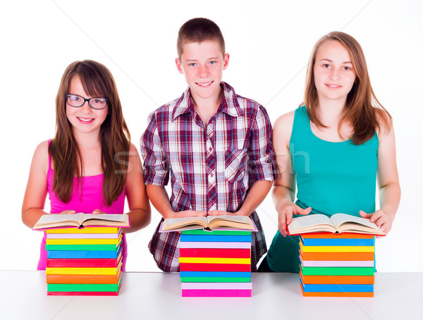 Estudiantes colorido libros pie libro Foto stock © icefront