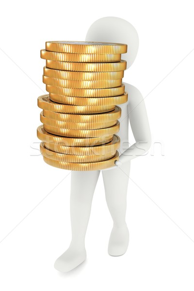3d man carrying coins Stock photo © icefront