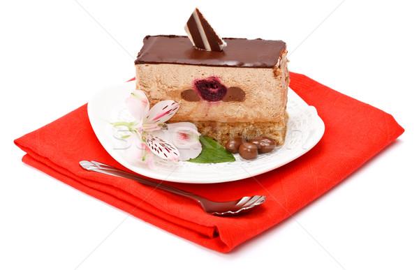 Mus czekoladowy ciasto plaster biały żywności candy Zdjęcia stock © icefront
