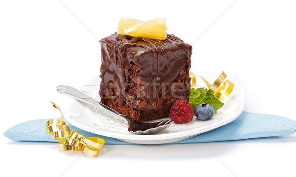 Cake with a chocolate gloss on plate Stock photo © icefront